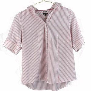Talbots Womens 3/4 Sleeve Pink Stripe Sz 14 Shirt